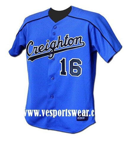 cheap blue sublimation baseball jersey