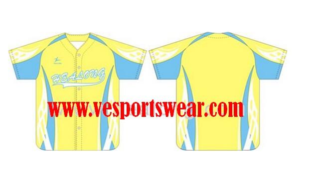 yellow and blue baseball jersey