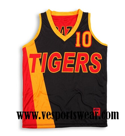 red and black sublimated baseketball jersey