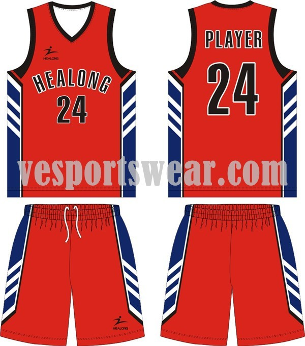 100% polyester custom made basketball uniform