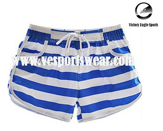 blue and white custom beach shorts