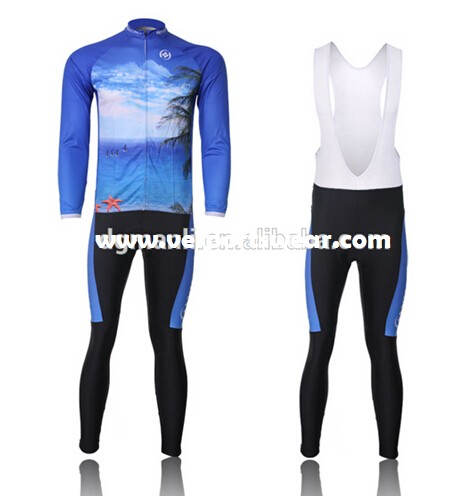 new design blue long sleeve cycling sets