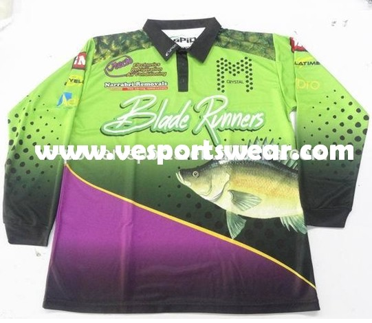 Custom fishing polo shirt sublimated