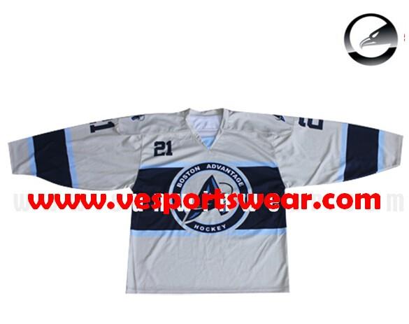 sublimation poylester fabric ice hockey jersey